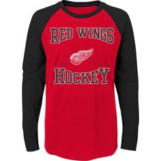 NHL Youth Detroit Red Wings Morning Skate Red/Black Raglan Long Sleeve Shirt, Team