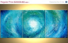 Blue White Original Painting Abstract Palette Knife by Laffertyart, $1567.64