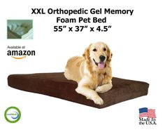 XXL Extra Large Dog Beds - XXL Orthopedic Gel Memory Foam Pet Bed - 55' X 37' X 4.5' 100% Made in USA- Best XL Luxury Large Breed, Washable Pet Bed You Can Buy | 4 LB Memory Foam - Puppy Bed Too - Introductory Price (Chocolate (Plush Microsuede), 4' USA Made Memory Foam 4 lb) * Click on the image for additional details.
