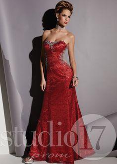 Studio 17 12433 - Red Strapless Sequin Prom Dresses Online #thepromdresses