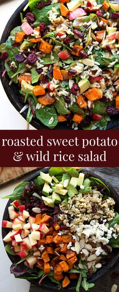 The best hearty and healthy Thanksgiving salad - mixed greens with roasted sweet potato, seasoned wild rice, cranberries, almonds, avocado, and cheese with a creamy lemon balsamic dressing. Plus some shortcuts to make this salad even quicker and tips to make it ahead of time!