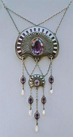 1874-1947 Jugendstil - Art Nouveau Silver Enamel Amethyst Pearl