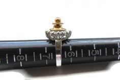 SIZE 6.5 Silver & Gold Rhinestone Steampunk Ring