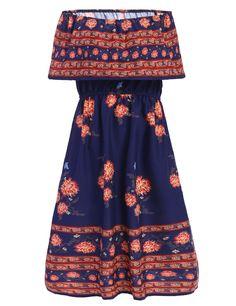 Fashion Women Short Sleeve Slash Neck Ruffles Off Shoulder Retro Floral Print A-Line Dress