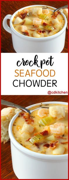 Slow Cooker Seafood Chowder - Rich and creamy and full of seafood. - Slurp this Soup - Slow Cooker Seafood Chowder - Rich and creamy and full of seafood. - Slurp this Soup - Soups Suppen Idees sec Crock Pot Soup, Slow Cooker Soup, Slow Cooker Recipes, Shrimp Slow Cooker, Slow Cooker Fish Recipes, Shrimp Recipes Crockpot, Crockpot Meals, Crab Chowder, Chowder Soup