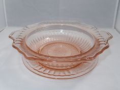 Pink Depression Glass Mayfair Open Rose - Bowl and Plate Set, Anchor Hocking, 1930s Pink Glass, Collectible by Duckwells on Etsy