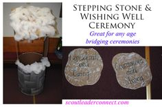 I have been a Girl Scout for so many years, I became tired of the same old Bridging ceremonies. So I decided to create a completely new Girl Scout Bridging Ceremony. Stepping stone and wishing well ceremony great for any age, wrote out for every level.