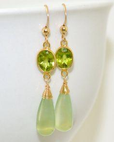 Peridot Prehnite  Long Earrings by luxurybyvera on Etsy, www.luxurybyvera.com