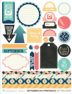 Gossamer Blue: September 2013 Life Pages (Project Life Style) Kit & Scrapbooking Kit Releases Featuring Exclusive Paper, Stamps, Cards, Print and Cut Files! Printable Stickers, Printable Planner, Planner Stickers, Printables, Free Printable, Bujo, Project Life, Gossamer Blue, Scrapbook Designs