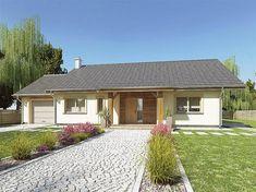 Projekt domu Julek styl z garażem [A] 99 - koszt budowy 194 tys. Bungalow Porch, New House Plans, Pergola, Garage Doors, Shed, New Homes, Farmhouse, Cottage, Outdoor Structures