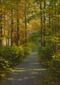 Levin, Victoria V Forest Path, Wide Nature Paintings, Beautiful Paintings, Beautiful Landscapes, Oil Paintings, Indian Paintings, Abstract Paintings, Painting Art, Watercolor Landscape, Landscape Art