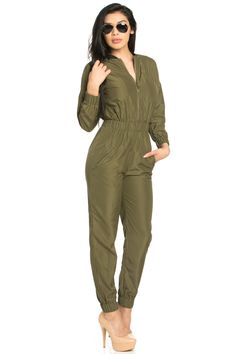 Purchase Bomber Jumpsuit Olive from My Yuccie on OpenSky. Olive Jumpsuit, Burgundy Jumpsuit, Black Jumpsuit, Playsuit Romper, Black Romper, Rompers, Fashion Outfits, How To Wear, Clothes For Women