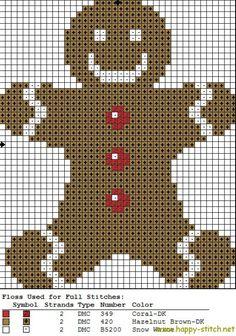 Gingerbread man free cross stitch pattern by HappyStitch