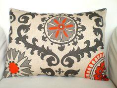 Lumbar Throw Pillows Decorative Pillows Accent Pillows Cushion Covers Orange Natural Rosa Suzani - One 12 x 16