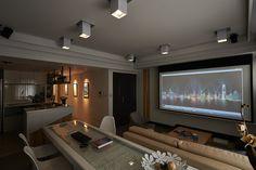 Disposição dos Móveis Define Espaços de Convívio-Home Theater