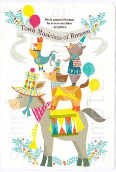 【楽天市場】【ブレーメンの音楽隊】カラフルでちょっとなつかしいタッチで動物のイラストを制作・可愛い動物・アニマル・人気ポストカード・ロバ・犬・ネコ・にわとり・ブレーメン:SAN AI HANDMADE