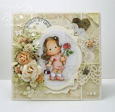 OOAK Magnolia Lovely Rose Tilda Handmade Card by ASprinklingOfGlitter on Etsy