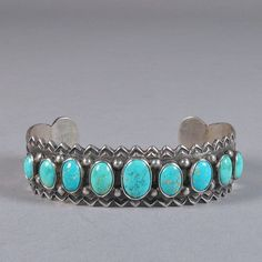 Silver and Turquoise Nine Stone Bracelet, Shiprock Gallery, Santa Fe, NM