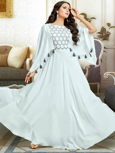 Attractive Off White Muslin Gown Frock Fashion, Indian Fashion Dresses, Indian Gowns Dresses, Dress Indian Style, Girls Fashion Clothes, Indian Designer Outfits, Party Wear Indian Dresses, Abaya Style, Sleeves Designs For Dresses
