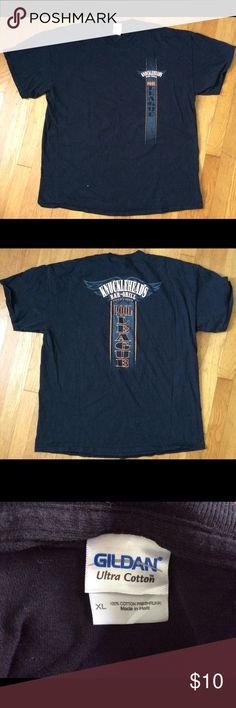 """Knuckleheads Bar-Grill T-Shirt (Men's) Knuckleheads Bar-Grill Pool league short sleeved t-shirt. XL. Men's. Approximate measurements: Length 30"""" Chest: 23"""" Shirts Tees - Short Sleeve"""