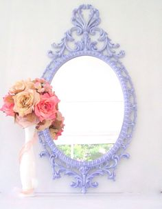 """BABY NURSERY MIRROR Lilac Pink Rose Shabby Chic Mirror  Vintage Mirror 35""""x17"""" Ornate Decorative Mirror French Country Shabby Chic Girls. $149.00, via Etsy..... @Jackie Beuten looks like the mirror you just did!!"""