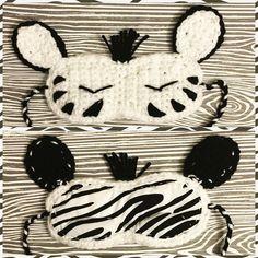 Freestyle zebra sleep mask by samslittleloops Crochet Zebra, Crochet Mask, Crochet Hooks, Crochet Crafts, Crochet Ideas, Crochet Patterns, Mask For Kids, Sleep Mask, Crotchet