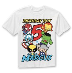 ed1549f5 Superhero Birthday Shirt Captain America IronMan Spiderman Thor Hulk ...