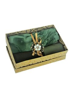 Gold Gift Boxes, Shades Of Green, Little Gifts, Chiffon, Things To Come, Floral, Handmade, Bags, Silk Fabric