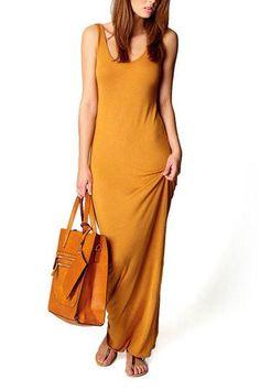 Orange Scoop Neckline Bodycon Maxi Dress