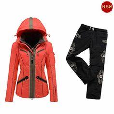 B0GNER Winter Ski Women Kiki-D Down Orange Ski Jacket and Black Ski Pants Large