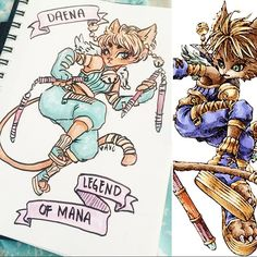 I was at a #sketchbombsf last weekend and the prompt was to re-imagine a video game character. I don't do fan art very much and we had a limited amount of time so instead I copied an old character but drew them in my own style making a few minor changes along the way. Original art and design are from the game Legend Of Mana (it's old and awesome, i used to play it as a kid) #weeklyfive #creditwhenyoucopy #legendofmana #drawing