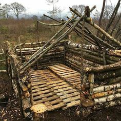Building the frame of this shelter and then will start putting all the other pieces together. Double tap the image to show the love.  Repost from @outdoorsurvivalgear   image by @carlisle195