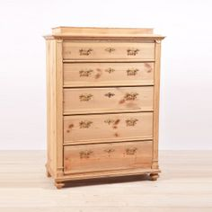 Antique Danish Five Drawer Tall Chest in Pine, c.1880