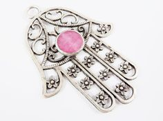 Extra Large Hamsa Hand of Fatima Pendant Pale Pink by LylaSupplies, $14.50