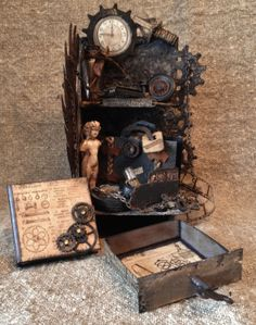 Tim Holtz Steampunk Grunge Bookends with a tiny mini album. by Anne Rostad