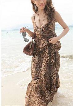 LEOPARD PATTERN CHIFFON MAXI DRESS | I could make that.