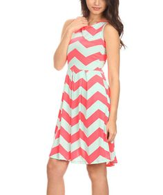 Look what I found on #zulily! Pink & Mint Chevron Pleated Fit & Flare Dress #zulilyfinds