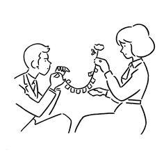 Yu Nagaba Wedding Illustration, Simple Illustration, Character Illustration, Graphic Design Illustration, Human Art, Illustrations And Posters, Doodle Art, Cute Drawings, Design Art