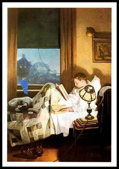 boy reading in bed painting by american artist Norman Rockwell Peintures Norman Rockwell, Norman Rockwell Art, Norman Rockwell Paintings, Norman Rockwell Christmas, Vintage Illustration, Munier, Reading In Bed, Reading People, Children Reading