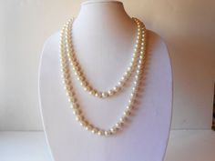 Vintage Pearl Necklace Downton Abbey 9mm by LittleBitsofGlamour