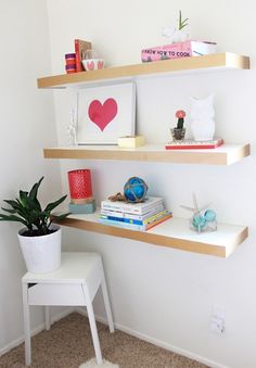 Make a color blocked floating shelf to keep your home or office organized with this DIY IKEA hack.