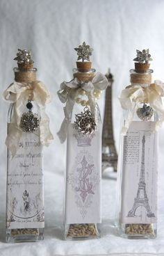 Decorative glass bottle with vintage french label vintage jewelry decorated bottle accented bottle repurposed bottle by My Sweet Maison. by mysweetmaison on Etsy https://www.etsy.com/listing/199665015/decorative-glass-bottle-with-vintage