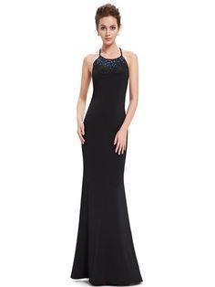 Sheer Long Sleeve V-Neck Ruched Waist Diamante Long Evening Dress 09887 - Ever-Pretty US