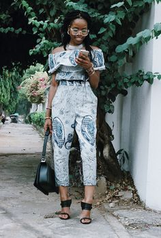 Beat the heat with this roundup of stylish work wear inspiration for summer | 'My Style Diary' in printed off-the-shoulder cropped jumpsuit