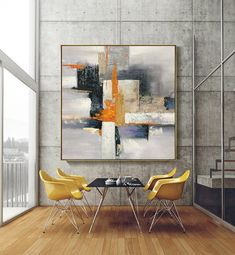 Hand Painted Canvas, Canvas Wall Art, Orange Painting, Contemporary Abstract Art, Abstract Canvas, Painting Abstract, Large Abstract Wall Art, Geometric Painting, Painting Art