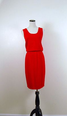 St John Vintage Red Knit Suit by CheekyVintageCloset on Etsy, $82.00