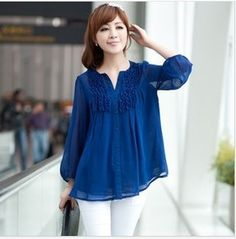 2014 New Fashion Plus Size Casual Long Sleeve Chiffon Blouse Shirts For Women clothing  Black/Blue/Orange XXL,XXXL,4XL,5XL $17.60