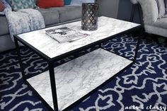 DIY Faux Marble Coffee Table Makeover Tutorial