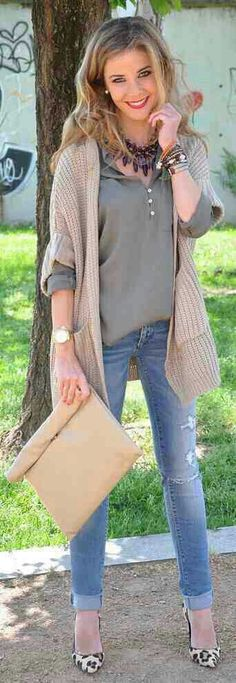 Camel cardigan, military green top, skinny jeans, leopard shoes, beige clutch, black statement necklace, gold & bead bracelets