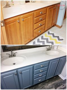 A fresh coat of paint and contemporary faucets instantly update this farmhouse style bathroom. Get the tutorial for painting your cabinets from Must Have Mom.